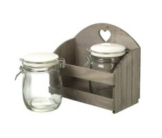 Shabby Chic Wooden Heart Crate With Two Clip Top Storage Jars by Parlane
