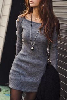 Off-Shoulder Long Sleeve Knit Bodycon Dress