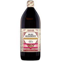 Wysokiej jakości olej sezamowy tłoczony na zimno - doskonały do sałatek, surówek, past śniadaniowych. Wine, Drinks, Bottle, Food, Drinking, Beverages, Flask, Essen, Drink