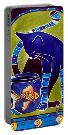Cat Art Portable Battery Charger featuring the painting Blue Cat With Goldfish by Dora Hathazi Mendes #bestseller #catart #cat #art #dorahathazi #bluecat #cats #felines #goldfish #catinart #printsforsale #artoftheday #gadget #portable #portablebattery #batterycharger #charger #catlovers