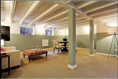 Painted Basement Ceiling!! Great idea