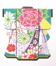 Lee's Needle Arts KB37 BOUQUET ON TEAL KIMONO 5x6 18M