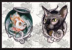 cat and fish tattoo design