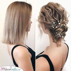 10 Increibles ideas de peinados para cabello corto Risos & Risos: 10 Incredible hairstyle ideas for short hair … Related posts:Just a few curls on top- make it fast and nice and easy!Braided hairstyle for long New Best Short Haircuts for Women Short Hair Updo, Short Wedding Hair, Wavy Hair, Short Hair Cuts, Wedding Hairstyles For Short Hair, Short Prom Hair, Bridal Hairstyles, Curled Hair Updo, Short Hair Bridal Styles