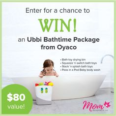It's contest time! We're giving away an amazing Ubbi Bathtime Package consisting of a bath toy drying bin Squeeze 'n Switch bath toys Stack 'n Splash bath toys and Peas in a Pod baby wash! This prize is perfect for making bath time fun and exciting for your little ones. Enter today at http://www.momresource.ca/community/ubbi-bathtime-giveaway/ #momresourceca #contest #giveaway #ubbi #ubbibathtime #oyaco #freebabystuff #bathtime #freebies