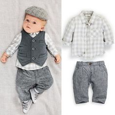 25b8830ff3fea Baby Boy Kids Infant Checked T-shirt Pants Vest 3Pcs Outfits Party 0-24M  Clothes