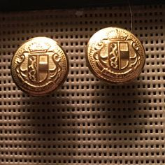 Vintage antique gold earrings, button earrings, unique gifts under 10 by bethebridge on Etsy
