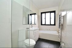 Small bathroom, black window frame, I like it
