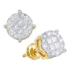 14k Yellow Gold 2.0Ctw Princess Round Diamond Ladies Soliel Earrings