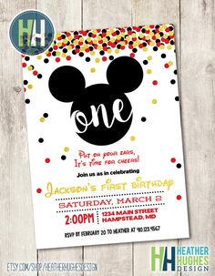 Hey, I found this really awesome Etsy listing at https://www.etsy.com/listing/275136170/mickey-mouse-first-birthday-invite-boy