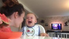 When this mom starts to eat a watermelon, her son thinks it's VERY funny! WARNING: His laughter is extremely contagious! Very Funny, Cute Gif, Things To Think About, Laughter, Baby Kids, Sons, Face, So Funny, Really Funny