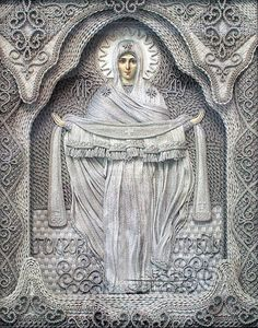 """""""Ukrainian artist Vladimir Denshchikov creates mind-blowing religious icons made almost entirely of linen thread. except for the faces and the hands. Each thread is pulled from pure linen and hand knotted. Each piece takes months to create! Blessed Mother Mary, Blessed Virgin Mary, Religious Icons, Religious Art, Faith Crafts, Ukrainian Art, Macrame Art, Catholic Art, Art Moderne"""