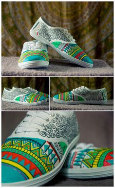 Hand painted shoes aztec plimsolls colorful by BohemianHandicraft, €40.00