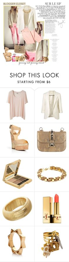 """GetTheLook: Colored jeans+Boyfriend's blazer in pastels"" by solespejismo ❤ liked on Polyvore featuring Acne Studios, H&M, Giuseppe Zanotti, Valentino, Forever 21, Flutter By Jill Golden, Sidney Garber, Chanel, Yves Saint Laurent and Henriette Lofstrom"