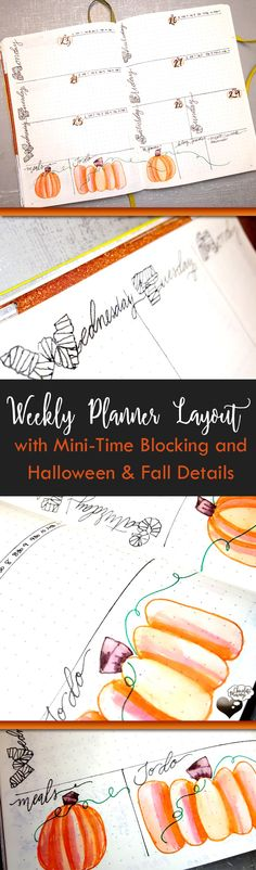 Weekly planner layout with mini-time block and fall doodles