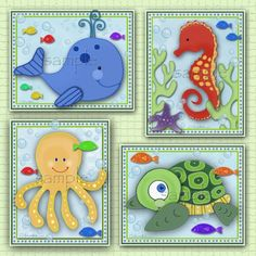 Set of four sealife prints. by LittlePigStudios on Etsy, $24.00
