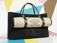 bag weekend Chanel beach karl lagerfeld toweling straw Saint Tropez