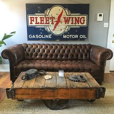 Here's our favorite find from yesterday's picking trip... One of the nicest #chesterfield sofas we've ever had. Rich brown leather, super comfortable... Doesn't get any better than that