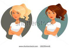 cute cartoon illustration of a teen or tween girl - stock vector