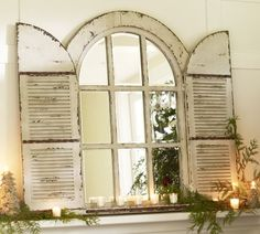 This look could be created with an old window, mirror, and shutters (Pottery Barn). [Window of Opportunity: Old Salvaged Windows Get New Life As Unique Decor ~ 5 of Arched Window Mirror, Arched Doors, Arched Windows, Old Doors, Mirror Door, Window Mirror Decor, Wall Mirrors, Painted Mirrors, Bedroom Mirrors