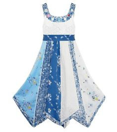 153dfc5df1 Large Button Floral Denim Dress New Kids Sleeveless Party Dresses 3-11 Years