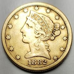 1882 $5 Gold Liberty Head Half Eagle-Extremely Fine-Free USA Shipping-XF