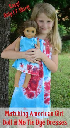 Create matching tie-dye dresses for your little one and her American Girl Doll out of 1 t-shirt!   DIY Fashion