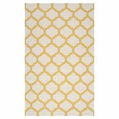 """Anchor your living room seating group or define space in the den with this artfully hand-woven wool rug, showcasing a quatrefoil trellis motif for eye-catching appeal.  Product: RugConstruction Material: 100% WoolColor: Ivory and goldFeatures:  FlatweaveReversibleMade in IndiaQuatrefoil trellis motifPile Height: 0.157""""Note: Please be aware that actual colors may vary from those shown on your screen. Accent rugs may also not show the entire pattern that the corresponding area rugs ..."""