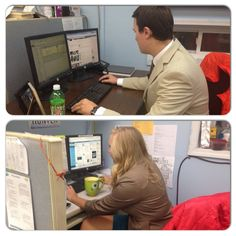Evan Dean and 9&10/Fox32 Courtney Hunter working hard behind the scenes this morning! - via Jessica Dupnack https://www.facebook.com/pages/910-Jessica-Dupnack/510490998995285