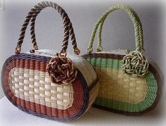 Wallet With Coin Pocket, Bamboo Crafts, Minimalist Wallet, Unique Bags, Basket Bag, Crochet Purses, Recycled Crafts, Basket Weaving, Crochet Projects