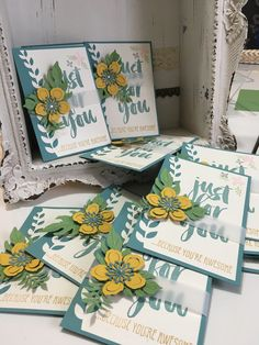 just for you botanical blooms - new cards for my customers in lost lagoon, hello honey and pear pizzazz from UK Stampin Up! demo Craftyhallett more details on www.craftyhallett.co.uk
