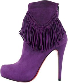 ☆ Christian Louboutin purple suede fringe boot ☆  These would look great with my sister's new jeans!