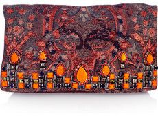 Matthew Williamson Embellished brocade and suede clutch on bagservant.co.uk