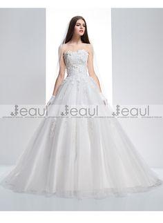 Ball Gown Bra Sweetheart Lace Short Court Train Wedding Dress