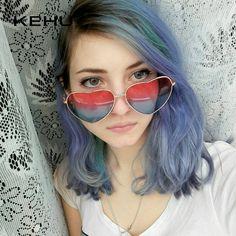 4dbbd6c74f Heart Shaped Sunglasses Women Metal Frame Reflective Lens Sun protection  Sunglasses Men Mirror Oculos De Sol