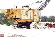 Экскаватор ЭО-4112А с драглайном. Фото зимой 1992 года.