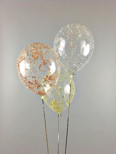 Metallic Confetti Balloons gold rose gold silver - Set of 3 - New Years Eve party bachelorette wedding bridal shower birthday| Free Shipping by StephShivesStudio on Etsy https://www.etsy.com/listing/497774265/metallic-confetti-balloons-gold-rose