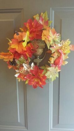 fall  i made this 5$!! Floral Wreath, Vans, Wreaths, Home Decor, Floral Crown, Decoration Home, Door Wreaths, Room Decor, Van