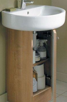 Pedestal sink organizer (pedestal sink storage ideas) #Pedestal #Sink #Storage Diy Storage, Storage Baskets, Storage Ideas, Pedestal Sink Storage, Sink Organizer, Sink Accessories, Organization, Home Decor, Getting Organized