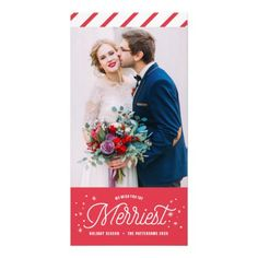 Red The Merriest Holidays Typography Photo Card II - holidays diy custom design cyo holiday family
