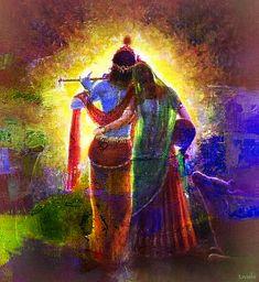 Buy online Paintings - Radha and krishna 1 - handpainted art painting - x from Fizdi Krishna Leela, Baby Krishna, Radha Krishna Images, Cute Krishna, Lord Krishna Images, Radha Krishna Photo, Radha Krishna Love, Krishna Pictures, Radhe Krishna
