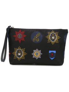 Alexander Mcqueen Black Calf Leather And Nylon Zipped Pouch With Badges Document Holder, Clutch, Calf Leather, Badge, Skull, Mens Fashion, Zip, Hand Bags, Shoulder Bags