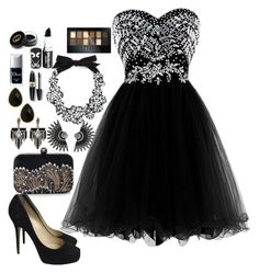 """""""All Black Prom"""" by chap15906248 ❤ liked on Polyvore featuring Jimmy Choo, Lulu Frost, J.Crew, Natasha Accessories, Max Factor, Maybelline, Christian Dior, Gucci, women's clothing and women's fashion"""