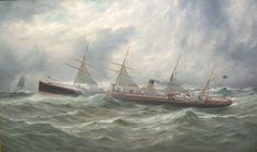 Adriatic -White Star's Adriatic by George Parker Greenwood. She was the first screw liner to win the Blue Riband with an 1872 run at knots km/h) Jacques Yves Cousteau, Titanic History, Nautical Art, Tall Ships, Blue Ribbon, Sailing Ships, Lighthouse, Cruise, Ocean