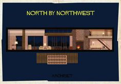 North By Northwest (1959). | 17 Gorgeously Geeky Posters Of Classic Film Interiors