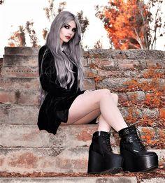 Velvet black dress with platform boots by dayanacrunk
