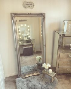 Large Silver Ornate Wall/Floor Mirror x - Love this furniture In a gray room - Small Dressing Rooms, Dressing Room Decor, Dressing Room Design, Dressing Room Mirror, Room Ideas Bedroom, Home Decor Bedroom, Silver Bedroom, Cute Room Decor, Grey Room