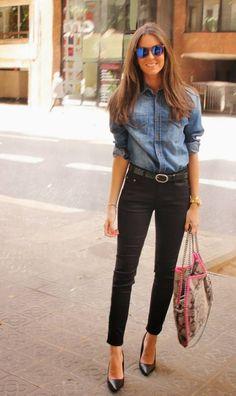 Fashion Outlet Blue Vintage Denim Shirt Fashion Photos----For more beautiful fashion photo check out: globalstreetsnap.com