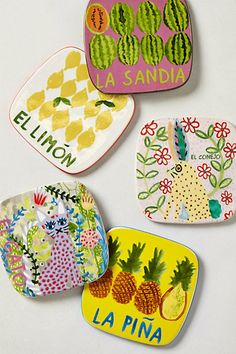 Paloma Coasters. Love the bright fun colors.