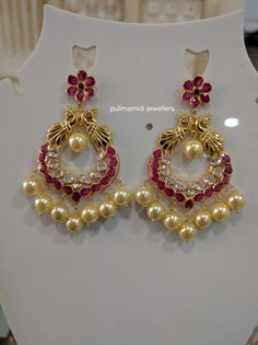 Gold Jewellery Design 14 Grams Rubys Cz Stones Chandbali Ring Earrings Diamond